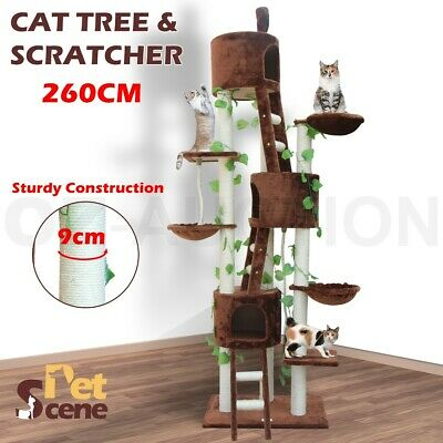260cm High Cat Scratching Post Tree Gym House Scratcher Pole Toy Multi Level