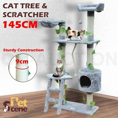 Cat Scratching Post Tree Gym House Scratcher Pole Toy Medium 145cm-Grey