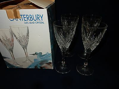 "Bohemia Crystal Canterbury Lot of 4 Wine Goblets 6 Oz. 7 1/2"" Boxed Set"
