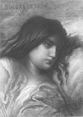 BEAUTIFUL YOUNG WOMAN GIRL BUT WEARY UNCARED FOR ~ Old 1880 Art Print Engraving