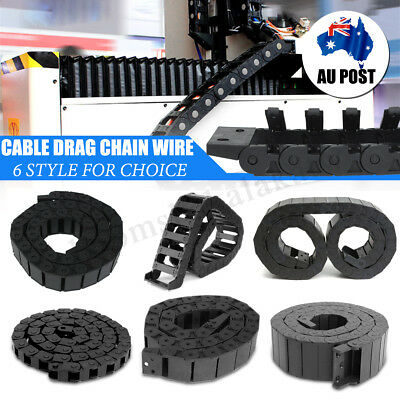 AU Black Nylon Towline Cable Drag Chain Wire Protect Carrier  CNC R18/R28/R38