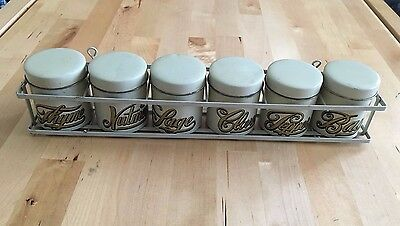 Mid Century vintage spice rack 6 metal canisters Vandor Imports made in Japan