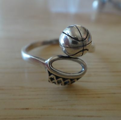 size 7-8 Sterling Silver Adjustable Basketball with Hoop & Ball Ring