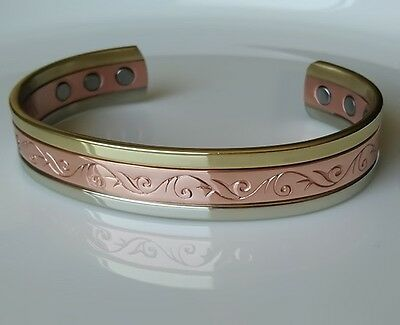 Med Beautiful 'scarborough' Copper Magnetic Bangle Bracelet Brand New Authentic