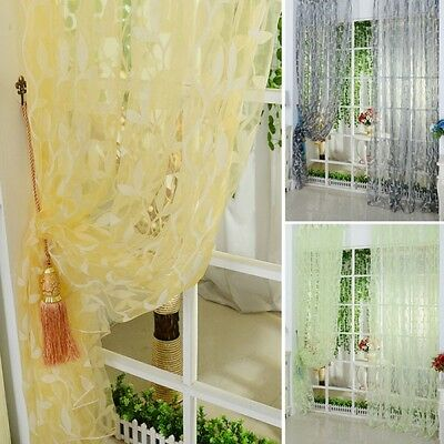 Home Colors Tulle Voile Door Window Curtain Drape Panel Sheer Scarf Valances
