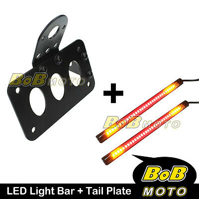 Tail Plate Integrated Brake + Indicator Light Bar x2 For Harley Police FLHP