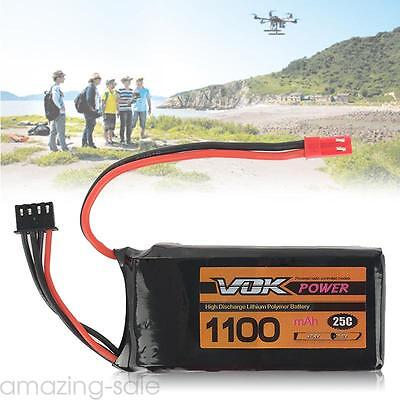 11.1V 1100mAh 3S 25C Lipo RC Battery JST for RC Helicopter Airplane Car