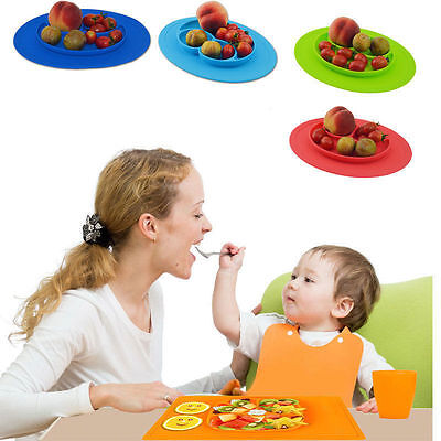 Happy Ezpz One-Piece Silicone Child Kids Safe Baby Food Divided Bowl Placemat
