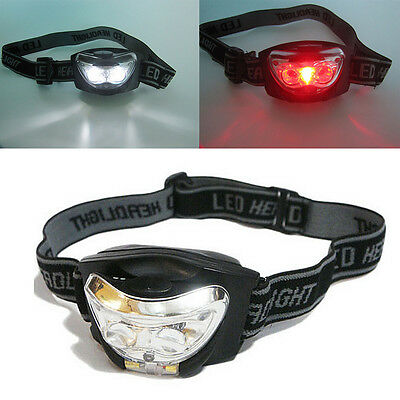 3 LED White + Red Camping 3 Modes Headlight Head Torch Hands Free Headlamp
