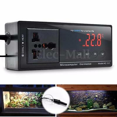 220V Digital Thermostat Temperature Controller +Sensor for Reptile Aquarium Tank