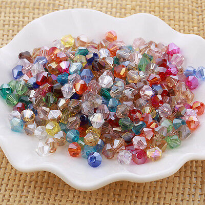 100pcs 6mm Bicone Faceted Crystal Glass Loose Spacer Beads Findings Mix Color