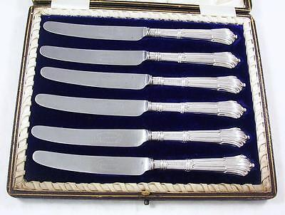 6 Antique Sterling Silver Onslow Pattern Handle Butter or Side Plate Knives 1906
