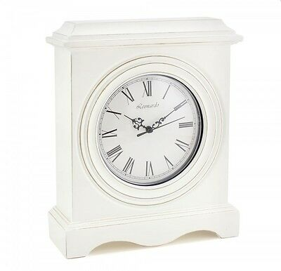 White Shabby Chic White Traditional Style Large Mantle Clock