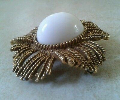 Vintage large unusual goldtone with raised white domed lucite cabochon brooch