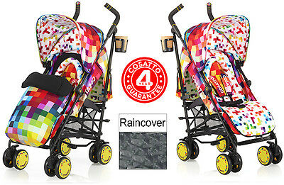 New Cosatto Pixelate Supa Pushchair Stroller Baby Buggy & Raincover From Birth