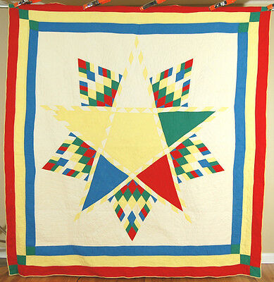 UNUSUAL COLORFUL Vintage EASTERN STAR Lone Star Antique Quilt ~RARE DESIGN!