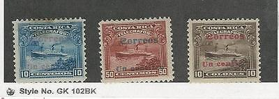 Costa Rica, Postage Stamp, #86, 89, 92 Mint Hinged, 1911