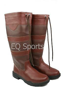 FREE P&P!! NEW STYLE!! Arizona Long Faux Leather Country Boots Sizes 3-9 Brown