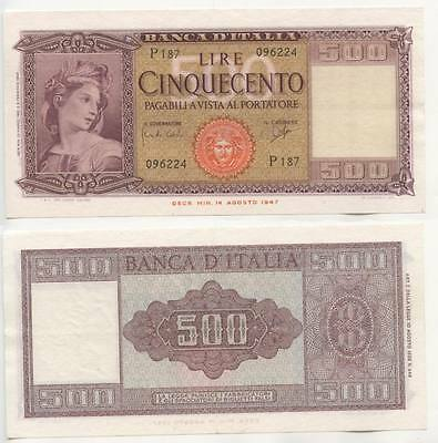 GB403 - Banknote Italien 500 Lire 1948 (1947 issue) Pick#80 fast Bankfrisch RAR
