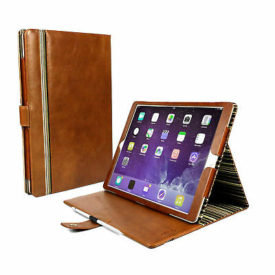 """Alston Craig Genuine Leather Stand Case Cover for iPad Pro 12.9"""" 2016 2017-Brown"""