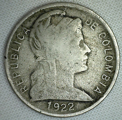 1922 Colombia 5 Centavos Copper-Nickel Coin KM#199 World Coin YG M2 #R2