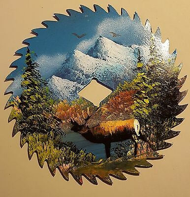 Hand Painted Saw Blade Elk Mountain Lake Scene Art lodge home cabin decor
