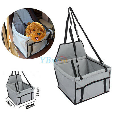 Dog Pet Safety Car Seat Cover Booster Bag Travel Basket With Leash Grey Color