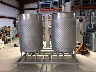 Qty 2  200 Gallon Dimple Jacketed Mix Tanks mounted  6' x 8' Mezzanine 316 SS