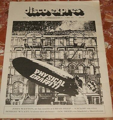 Led Zeppelin Spanish Magazine Disco Expres 1975 Rare Complete