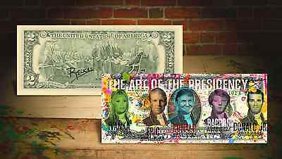 "TRUMP "" ART OF THE PRESIDENCY "" on GENUINE Tender $2 Bill HAND-SIGNED Rency ART"