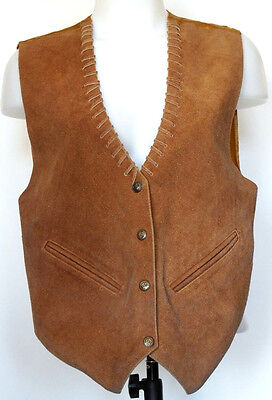Mona Mode Brown Suede Leather Western Style Snap-Front Whip-Stitch Detail Vest M