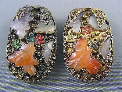 ANTIQUE c.1900 CHINESE EXPORT Pair Silver Carved Jade Enamel Fur Dress Clips