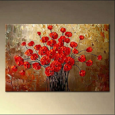Modern Abstract Painted on Canvas Wall DECOR Art Oil Painting Poppy(No Frame)