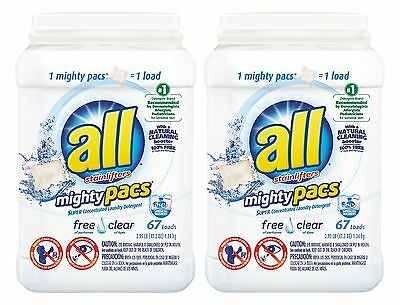All Mighty Pacs Free Clear Super Concentrated Laundry Detergent Pacs 67 C... New