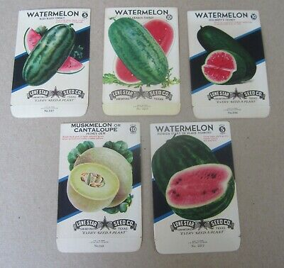 2 Old Vintage 1940's - WATERMELON - SEED PACKETS - Lone Star Seed Texas - EMPTY