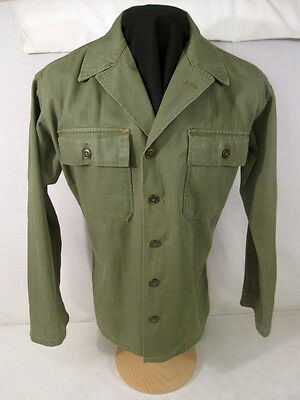 post-WWII US Army OD7 HBT Herring Bone Twill 2nd Pat Combat Jacket Shirt SM 1947