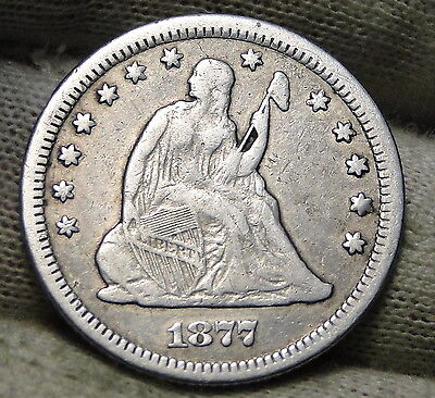1877-CC 25C Liberty Seated Quarter, Nice Coin, Free Shipping (5621)