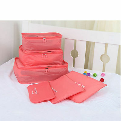 6PCS Travel Storage Bags Waterproof Clothes Packing Cube Luggage Organizer Pouch