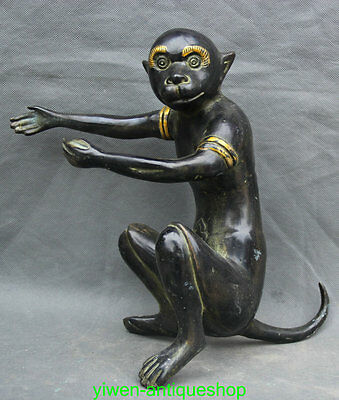 "11"" Chinese FengShui Bronze Gilt Zodiac Year Monkey Animal Statue Sculpture"