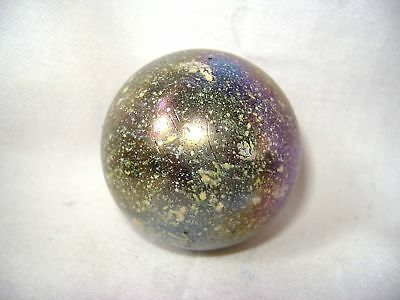 NEW JUPITER 50mm GIANT GLASS MARBLE FLECKED GAME COLLECTORS ITEM YELLOW HOM