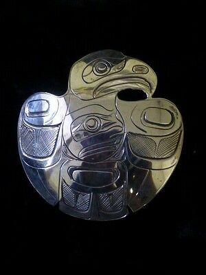 Northwest Coast Sterling Silver Raven Stealing Moon Pendant/Brooch Signed: F.N.