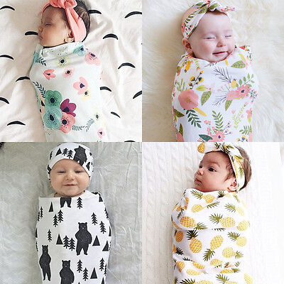 Newborn Baby Soft Swaddle Blanket Sleeping Swaddle Wrap Floral Bath Towel 2pcs