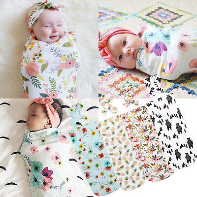 Newborn Baby Photo Props Cotton Baby Swaddle Wrap Blanket Sleeping Bag 2PCS Set