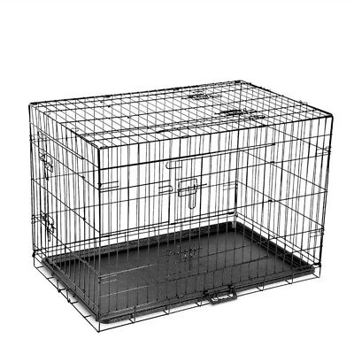 "30"" 36"" 42""  Dog Pet Cage Kennel Cat Collapsible Metal Crate Tray 3 Doors"