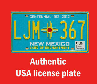 New Mexico Real Authentic License Plate Auto Number Car Tag Santa Fe Nm Zia Sun