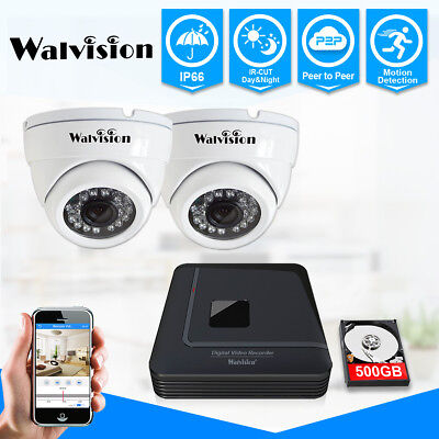 Walvision CCTV 4CH 720P DVR Recorder Security IR Dome Cameras System 500GB HDD