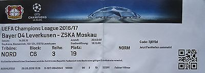 TICKET UEFA CL 2016/17 Bayer Leverkusen - ZSKA Moskau