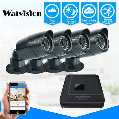 Walvision CCTV 4CH 720P HDMI DVR Outdoor Home Security Camera System Kit NO HDD