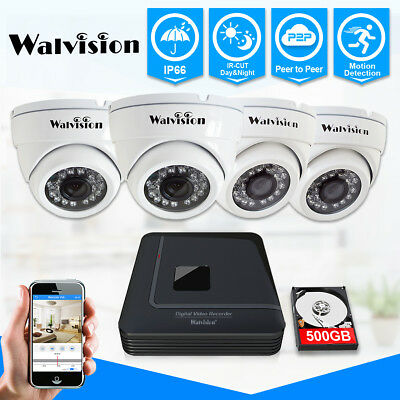 Walvision CCTV  720P HDMI DVR Recorder Security IR Dome Cameras System 500GB HDD