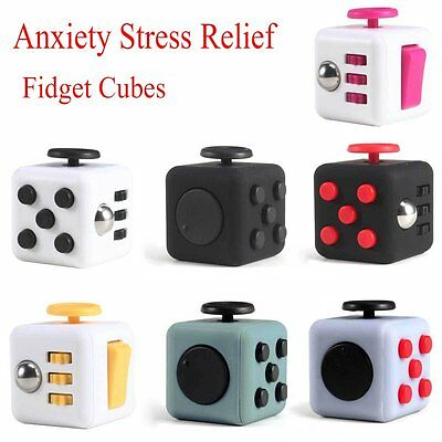 Fun Fidget Cubes 6 Sided Cube Adult Anxiety Stress Relief Cube Toys Xmas Gift